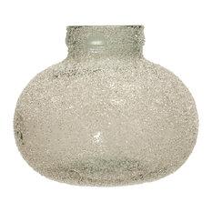 Translucent Crackle Glass Round Vase, Clear