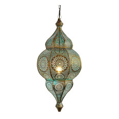 Moorish Brass Blue Lantern