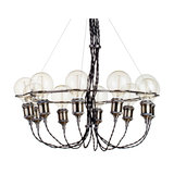 10 Light Vintage Style Braided Cable Ceiling Pendant, Antique Brass