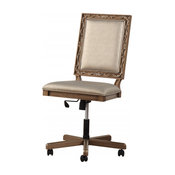 """24"""" X 22"""" X 41"""" Champagne Antique Gold Wood Executive Office Chair"""