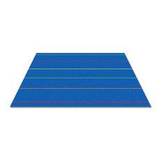 Straight Lines Multi On Blue Rug