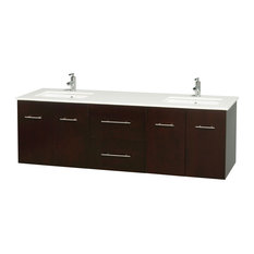 "Centra 72"" Espresso Double Vanity, White Man-Made Stone Top, Drop-In Square Sink"