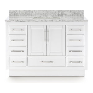 """Kendall Vanity With Plinth Base, White, 48"""""""