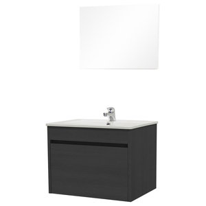 Maple Bathroom Vanity Unit and Mirror 2-Piece Set, Black Elm, 81 cm