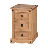 Traditional Bedside Table in Natural Solid Pine Wood with Three Storage Drawers