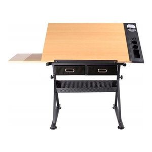 Modern Drafting Table, Coated Iron Frame and MDF Desktop, 2-Storage Drawer