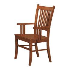 Coaster Fine Furniture   Marbrisa Mission Style Medium Brown Finish  Slat Back Wood Arm