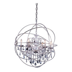 "32""x34.5"" 6-Light Chandelier, Crystal: Silver, Chain Finish: Polished Nickel"