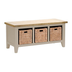 3-Basket Storage Bench, Putty