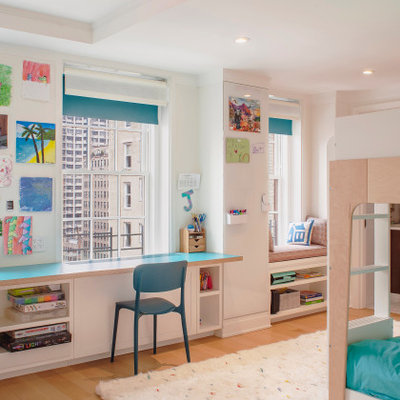Mid-sized trendy girl carpeted, white floor and exposed beam kids' room photo in New York with white walls