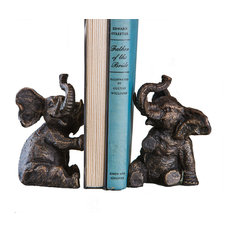 Elephant Bookends, Set of 2, Bronze