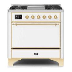 36 Majestic II Range With Solid Door, Griddle in White with Brass (NG)