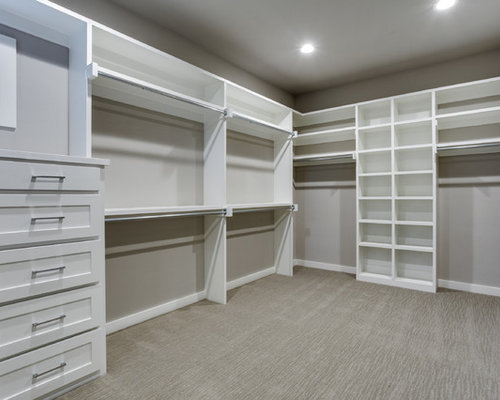 Large Farmhouse Gender Neutral Carpeted Walk In Closet Idea In Dallas With  Shaker Cabinets