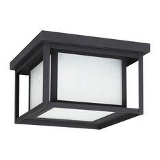 Sea Gull Lighting 2-Light Outdoor Flush Mount, Black