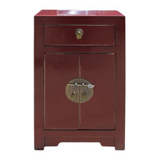 Oriental Distressed Brick Red Lacquer Side End Table Nightstand Hcs4927