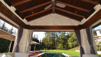 Stone pool house cabana