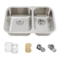 Small Offset Double Bowl Stainless Steel Kitchen Sink, Ensemble