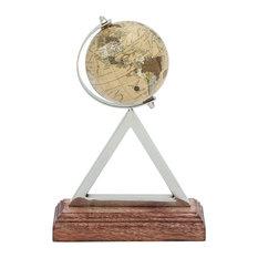"Stainless Steel PVC Wood Globe 8""x12"""