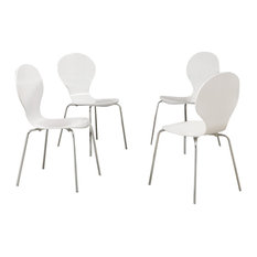 "Dining Chairs, Set of 4, 34"", White Bentwood With Chrome, White"