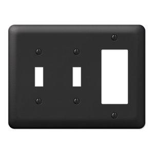 Devon Steel 2-Toggle, 1-Rocker Wall Plate, Black