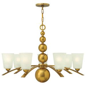 Zelda Modern 7-Light Chandelier, Vintage Brass