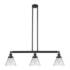 "3-Light Large Cone 40"" Island Light, Matte Black, Glass: Clear"
