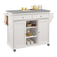 Acme Tullarick Kitchen Cart, Stainless Steel and White