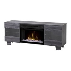 MaxMedia Console With Multi-Fire Glass Ember Bed Firebox, Walnut