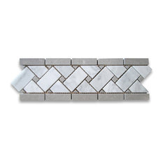 "4""x12"" Carrara White Basketweave Mosaic Border With Gray Dots Polished"