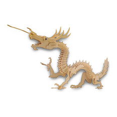 Large 37 Inch X 19 Inch Asian Dragon 3-D Wooden Puzzle 148 Pieces