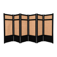 4' Tall Low Jute Shoji Screen, 6 Panel, Black