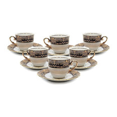 Royalty Porcelain 12-pc Espresso Coffee Set, Cups and Saucers, Vintage Blue