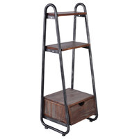 Monaco Ladder Bookcase, Silver Brushed Gray, Rustic Pine Wood