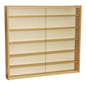 Reveal 6-Shelf Glass Wall Collectors Display Cabinet, Oak