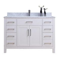 "48"" Belvedere Modern Freestanding White Bathroom Vanity With Marble Top"