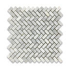 "12""x12"" Carrara White Herringbone Mosaic Tile Polished"