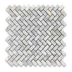 """12""""x12"""" Carrara White Herringbone Mosaic Tile Polished"""