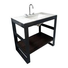 "Steel Bath Vanity With Reclaimed Oak Shelving, Blackened, 48""x18"", Double Shelf"