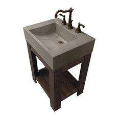 "24""Lavare Cado Concrete Sink, Limestone, 3 Holes"