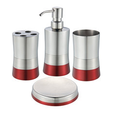 Hopeful Enterprise Shiny Matte 4 Piece Bathroom Set Red Bathroom Accessory Sets