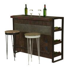 Gratis Modern Mango Wood Industrial Wine Bar Cabinet with 2 Stools