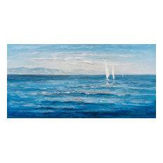 """Ocean's Eleven"" Hand Painted Canvas Art, 55""x27.5"""