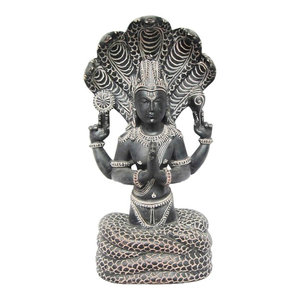 Mogul Interior - Yoga Gift Idea- Patanjali Gorara Stone Statue Meditation Sculpture 5 Hooded Serp - Decorative Objects And Figurines