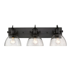 Hines 3-Light Bath Vanity, Black With Seeded Glass
