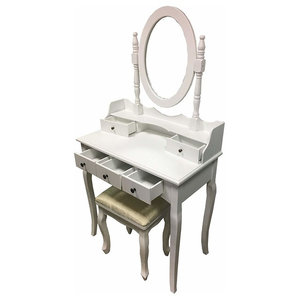 Dressing Table Set With Cushioned Stool and Rounded Mirror, 5 Storage Drawers