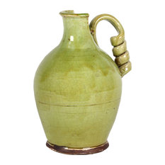 Antiquated Traditional Ceramic Tuscan Vase With Broad and Round Body, Green