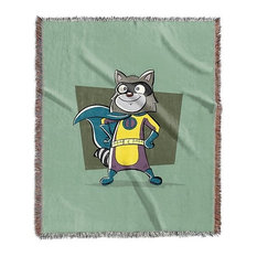 """""""Raccoon, Superhero Animal Art"""" Woven Blanket 50""""x60"""""""