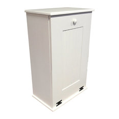Sawdust City Llc Wooden Trash Bin Large Cottage White Cans