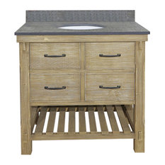 Rustic Fir Single Sink Vanity With Polished Surface Granite Top, 36""