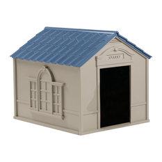 Suncast Large Dog House w Taupe and Blue Finish